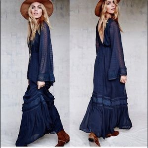 Free People Boho Viola Blue Lace Midi Dress Blue 6